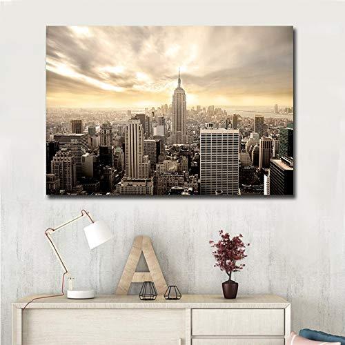 Belle New York City Architecture Photo Art, Maison Moderne décoration Murale Toile Peinture à l'huile sans Cadre Peinture 40 cm x 50 cm