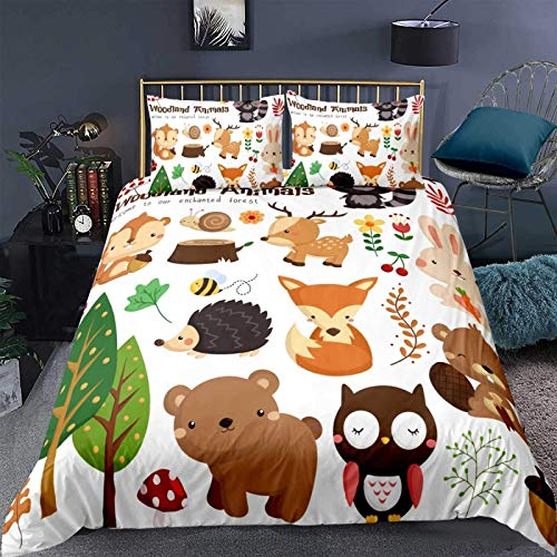 zzkds Kids Bedding Set , Cute Cartoon Animal Pattern for Children Girls Boys Comforter Cover Bedroom Decor 3 Pieces :1 Quilt Cover & 2 Pillowcases