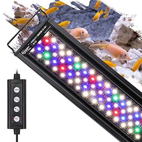 Hygger 水槽ライト アクアリウムライト クリアLED 熱帯魚ライト 水槽用 7色白/赤/橙/黄/緑/青/藍LED 調節可能 新開発の昼光と月光モード IP68防水仕様 長寿命 観賞魚飼育 水草育成用 スライド式 30CM 45CM 60CM 水槽対応