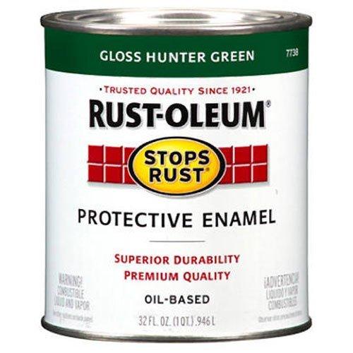 Rust-Oleum, Gloss Dark Hunter Green 7733502 Stops Rust, 32 oz. Quart, Can