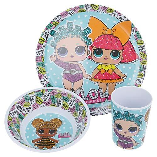 Producto oficial de L.O.L Surprise. Juego de comedor de melamina sin BPA de 3 piezas, plato, cuenco y vaso, juego de vajilla para niños