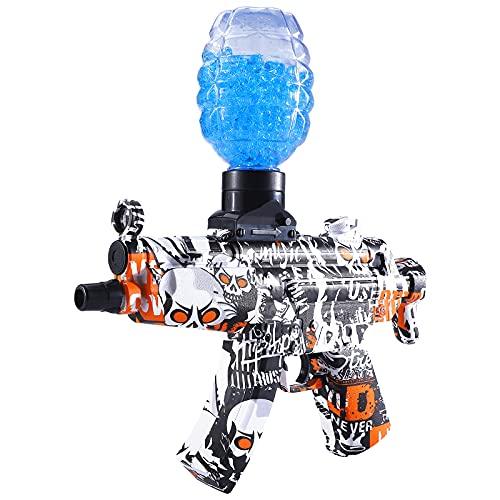 Hongvchang Electric Gel Ball Blaster Toy Gun MP-5 for Outdoor Yard Activities Shooting Game, 5000 Splatter Water Beads, Ages 8+ (Yellow)