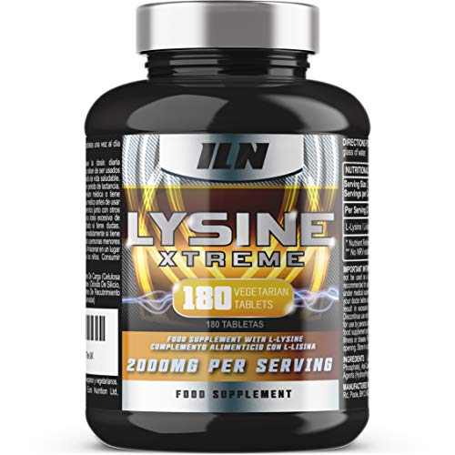 L-Lysine 1000mg x 180 Tablets   Vegetarian Lysine Supplement with 2000mg Daily Serving   Made in The UK