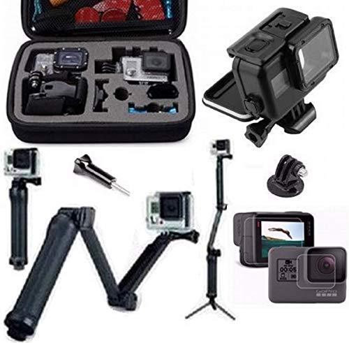 Pacote de acessórios para Gopro Hero 5 Hero 6 Hero 7 Black Caixa Estanque Preta maleta média tripé 3 way articulado película frontal e traseira (4 itens)