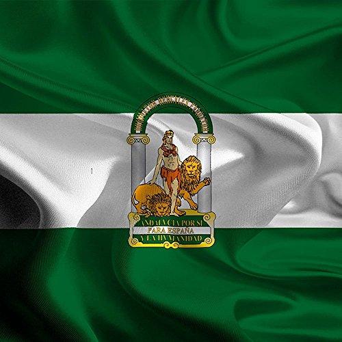 Oedim Bandera de Andalucia 85x1,50cm   Reforzada y con Pespuntes  Bandera de Andalucia con 2 Ojales Metálicos