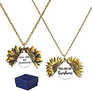 GROBRO7 2Pcs Sunflower Locket Necklace You are My Sunshine Necklace Golden Engraved Choker Memorial Necklace Valentine Sec...