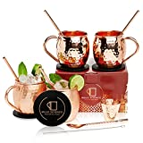 [Gift Set] Mule Science Authentic Moscow Mule Copper Mugs Set of 4 (16oz) | Solid 100% Copper Cups...