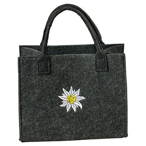 LaFiore24 Filztasche hochwertige Damen Einkaufstasche Filz Shopper Handtasche Festival Henkeltasche Dirndl Edelweiß-Stickerei (dunkelgrau)