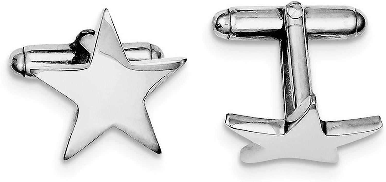 Lex & Lu Sterling Silver w Rhodium Star Cuff Links