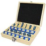 S&R Set Frese per Legno 12 pz HM, codolo 8 mm, in acciaio forgiato, punte da taglio legno in metallo duro, in scatola di legno