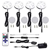 AIBOO LED Under Cabinet Lighting Kit 4 Packs of 12V Puck Lights with RF Dimmable Wireless RF Remote Control for Kitchen Counter Accent Lighting(Daylight White)