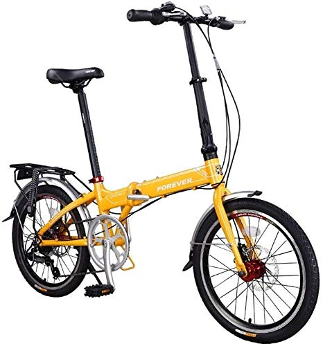 QUETAZHI 7-Gang-Faltrad 20-Zoll-Aluminium-Rahmen, Doppel vorne und hinten Mechanische Scheibenbremsen, Neutral Fahrrad-Reifen-Spokes 36, Gelb/Grau QU604 (Color : Yellow)