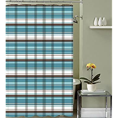 Evonca Teal Aqua Brown Taupe White Fabric Shower Curtain: Canvas Striped Pattern Design, 70  x 72  inches