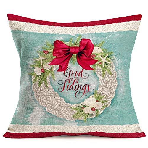 Tlovudori Vintage Xmas Home Decor Throw Pillow Cover Christmas Twine Wove Garlands with Red Bow-Tied Mistletoe Ocean Starfish Scallop Shells Cotton Linen Pillowcase Cushion Cover 18'x18' (VX- Xmas)