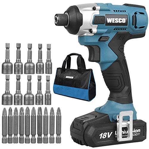 Impact Driver, WESCO 18V 2.0Ah Cordless Impact Driver with...