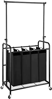Bonnlo 4-Bag Laundry Sorter with Hanging Bar, Heavy-Duty Wheels, Removable Bags and Brake Carters, Black