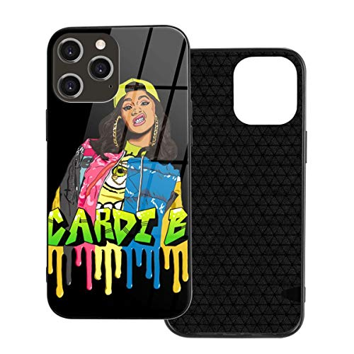 5husihai Cardi B Compatible iPhone 12 Case,Ultra-Thin Tempered Glass Pattern Painted Back Cover + Soft TPU Bumper Frame Iphone12 Pro Max