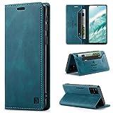 uslion Hülle für Samsung Galaxy A51 4G RFID SchutzHandyhülle Kartenfach Geld Slot Ständer Flip Hülle Magnetisch Klapphülle Lederhülle Schutzhülle für Samsung Galaxy A51 4G - Blau