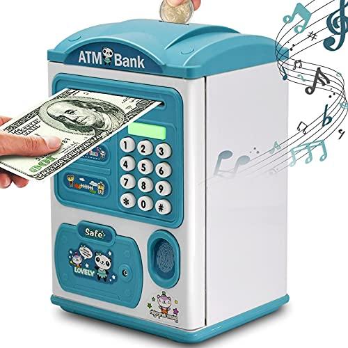 Hucha para niños, electrónica, cajero automático, hucha, hucha, caja de ahorro de dinero, con contraseña, huella digital, función de desplazamiento automático, música, regalos para niñas, niños, niños