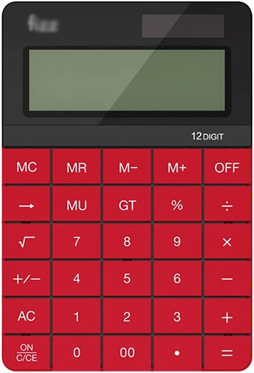 Calculator Calculator Dual Power Supply Standard Function Desktop Calculators 12 Digit Large LCD Display and Big Button for Daily Office Calculators (Color : Red)