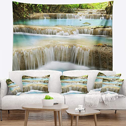 Designart Blue Erawan Waterfall Landscape Photography Tapestry Blanket D Cor Wall Art For Home And Office Created On Lightweight Polyester Fabric Large 60 In X 50 In Shefinds