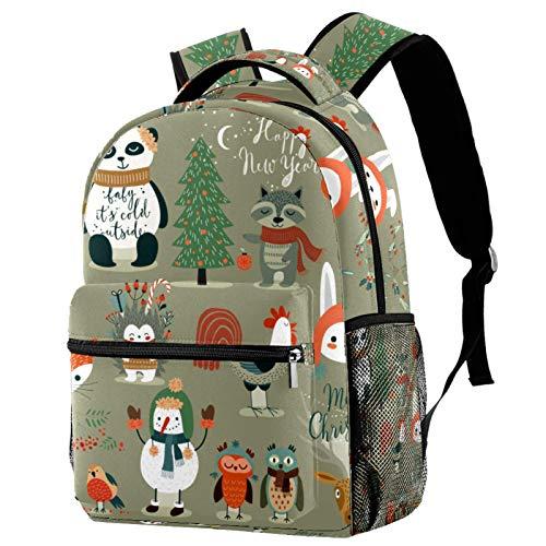 Christmas Forest Cartoon Animal Owls Panda Fox Backpack School College Bag Bookbag Hiking Travel Rucksack for Women Men