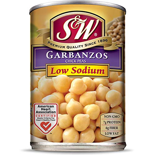 S & W • Canned Low Sodium Garbanzo Beans (12 Pack), Chickpeas, Vegan, Non-GMO, Natural Gluten-Free Bean, Sourced and Packaged in the USA, 15 Ounce Can