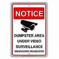 セーフティサイン屋外の壁のアートデコレーションのダンプスターエリアのビデオ監視trespassers