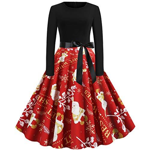 VANMO Damen Weihnachtskleider 50s Kleider Retro Partykleid Weihnachten Kleid Langarm Vintage Drucken Weihnachtenkleid A-Linie Swing Karneval KostüMe Dress Sale 2020 Frühjahr neue Damenbekleidung