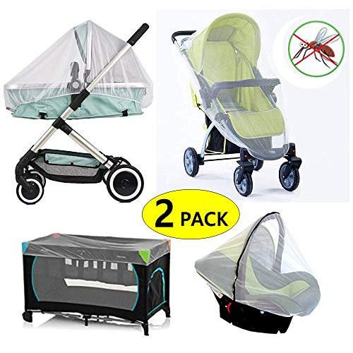 2 Pack Baby Mosquito Net for Strollers, PacknPlays, Car Seat & Bassinets, Playpens & Cribs (2 Pack) (L)