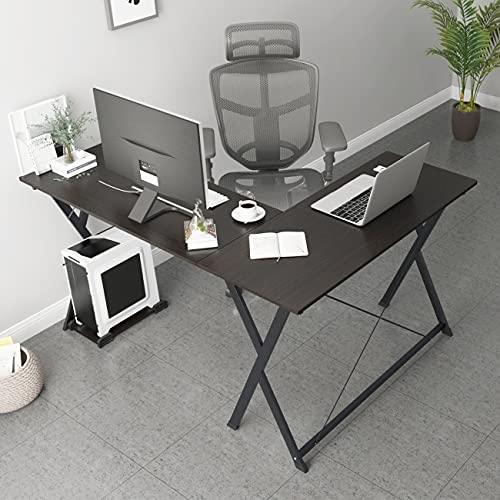 sogesfurniture Computer Desk L-Shaped Corner Desk Computer Workstation Large PC Laptop Table Study Table Gaming Desk for Home and Office, Black BHEU-ZJ1-BK