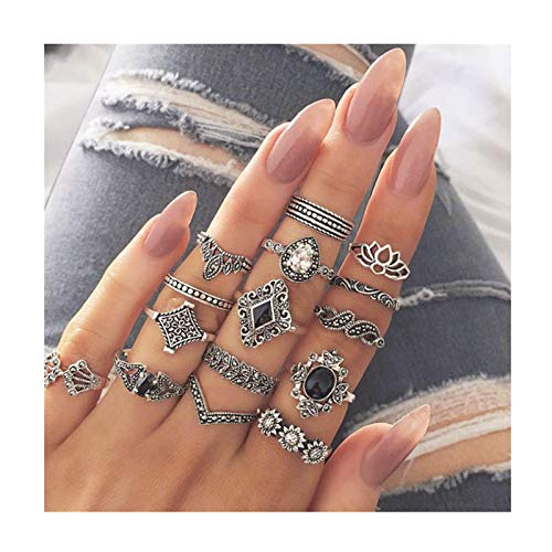 Beauteye 15PCS Boho Style Vintage Punk Silver Rings Sets for Women Joint Knuckle Ring Set Plated Silver Finger Ring Jewelry for Women and Girls Mid Ring Set Flower Crown Hollow Out Ring