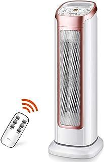 Radiador eléctrico MAHZONG Calentador de Ventilador, Torre de Giro compacta con Control Remoto, Temporizador, 3 configuraciones de Calor, 2000W