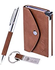 Slim Wallet Gift Box Set RFID Credit Card Holder Real Genuine Leather by ShyLock Wallet + Key Fob Chain + Pen. Chinese New Year men boyfriend dad husband Blocking Protection Business Card Case