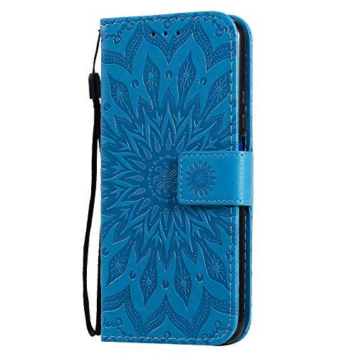 KKEIKO Hülle für Huawei Honor 20 Pro, PU Leder Brieftasche Schutzhülle Klapphülle, Sun Blumen Design Stoßfest Handyhülle für Huawei Honor 20 Pro - Blau