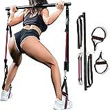 Adjustable Pilates Bar Kit Fitness Resistance Bands, Resistance Bands Portable Pilates Bar at Home Fitness Equipment for Indoor Outdoor Workout Fitness