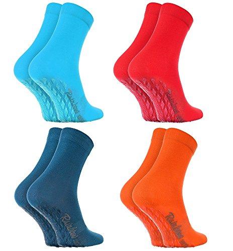 Rainbow Socks - Damen Herren Bunte Baumwolle Antirutsch Socken ABS - 4 Paar - Blau Rot Jeans Orange - Größen 42-43