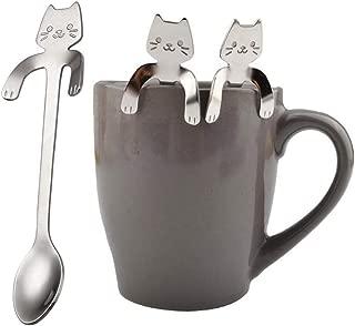 ekqw015l 1 Piece Cute Cat Spoon Long Handle Spoons Flatware Drinking Tools Kitchen Gadget |Baby Stainless Steel Dessert Cake Coffee Spoon Cutlery– Teaspoons,Coffee spoons Soup Spoons Silver