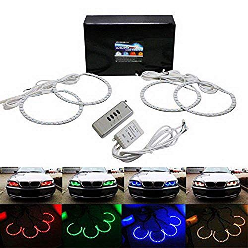 iJDMTOY Multi-Color 120-SMD RGB LED Angel Eyes Halo Ring Lighting Kit w/Remote Control Compatible With BMW E36 E46 E38 E39 3 5 7 Series