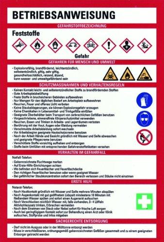 LEMAX® Schild PVC Betriebsanweisung für Feststoffe nach GHS 300x200mm