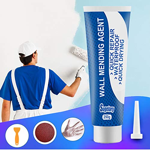 250g Drywall Patch Repair Kit with Scraper, White Drywall Spackle Repair Paste, Wall Mending Agent Quick and Easy to Fill The Holes for Home Wall, Plaster Dent Repair and Wood Scratch Repair (Blue)