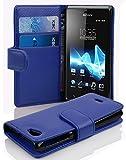 Cadorabo Funda Libro para Sony Xperia J en Azul Real - Cubierta Proteccíon de Cuero Sintético Estructurado con Tarjetero y Función de Suporte - Etui Case Cover Carcasa
