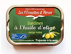 4 ounces of fillets rather than whole sardines in extra virgin olive oil Caught on the coast of Bretagne (Brittany), France