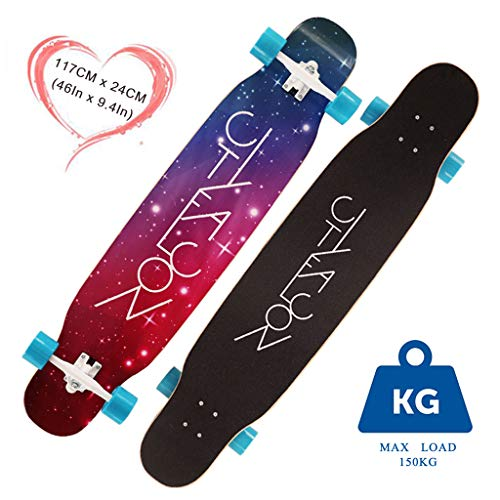 HYE-SHOE Dancing Longboards Skateboard 46 Zoll Deck Camber Concave Drop Through Freestyle Long Board 8-lagiger Ahorn mit verbreiterten Rädern für Anfänger und Profis