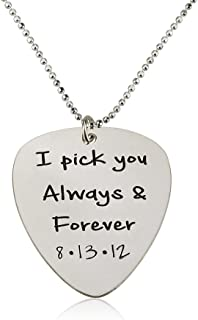 Guitar Pick Necklace - Personalized Pick Necklace- 925 Sterling Silver