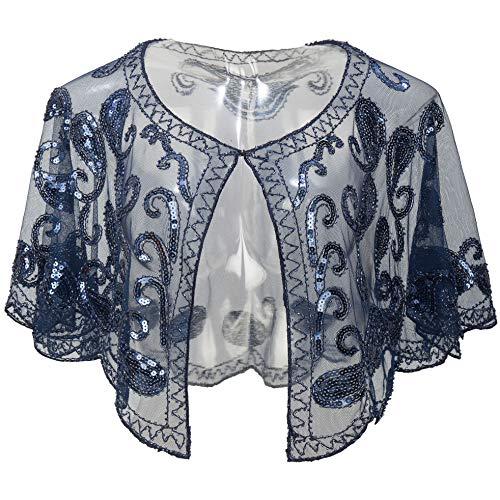 ArtiDeco 1920er Jahre Retro Schal Umschlagtücher für Abendkleider Stola für Hochzeit Party Gatsby Kostüm Accessoires (Dunkelblau)