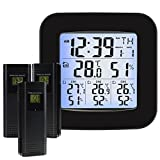 Wireless Weather Station Thermometer with 3 Indoor Outdoor Sensor Wireless Clock Alarm Temperature