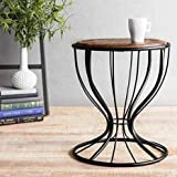 Furniture Hub Beautiful Wooden and Wrought Iron Seating Stool for Living Room and Garden | Seating Stool and Coffee Table