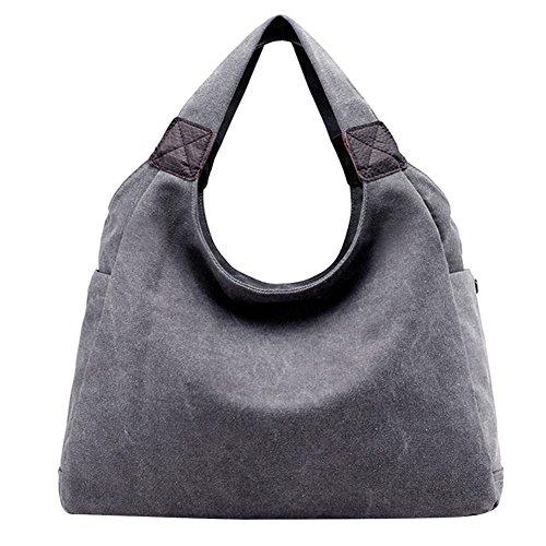 PB-SOAR Damen Canvas Schultertasche Henkeltasche Shopper Handtasche Hobo Bag Beuteltasche Schulterbeutel, 6 Farben auswählbar (Grau)
