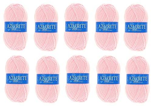 les colis noirs lcn Lot 10 Pelotes de Laine Azurite 100% Acrylique Tricot Crochet Tricoter - Rose - 3011